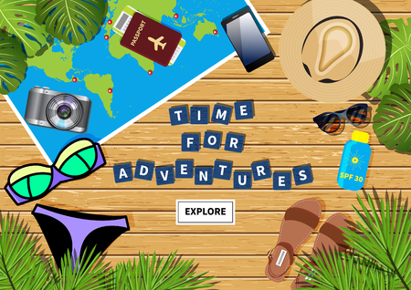 puzzling: Vector travel banner with a phrase time for adventures made out of letters in word puzzling game. Different objects and map placed on light wooden textured background.