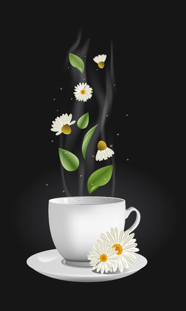 camomile tea: Vector realistic chamomile tea. White china cup with a stream, flowers, leaves and drops moving up and floating