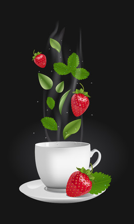 Vector realistic illustration of a teacup with hot drink and vapouring steam. The vapour lifts above strawberries, drops and tea leaves. Concept image for a scented berry tea Illustration