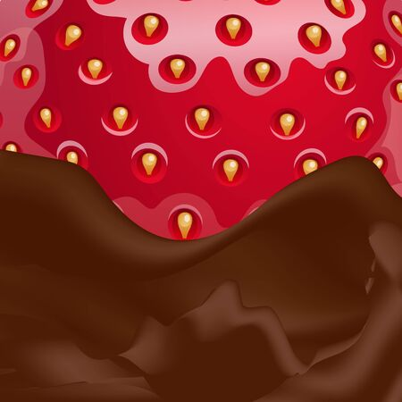 Vector melted chocolate and strawberry in it. Close-up view.