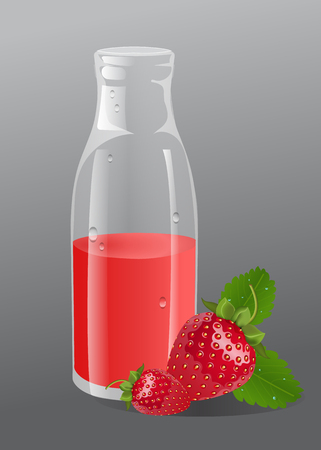Vector srawberry juice in a glass bottle. Berries beside the bottle. Gray background