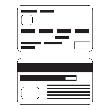 affinity: Vector icon of two bank payment cards in flat cartoon style. Black and white isolated illustration.