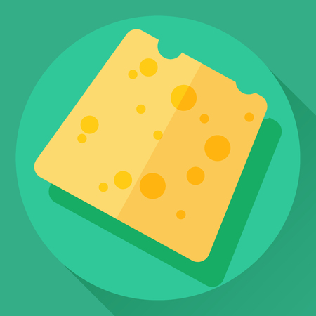 cheez: Vector cheese flat cartoon style icon. Yellow color hard cheese loaf with holes