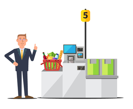Vector male customer in a business suit using self checkout register. Red shopping basket full of grocery. Grey metal self service machine with cash and card payment, and bagging area