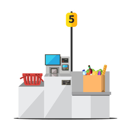 Vector big paper shopping bag full of grocery standing on a grey metal self checkout machine with cash and card payment, and bagging area. Empty red shopping bag is placed on the other side Illustration
