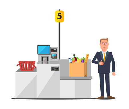 Vector male happy customer in a business suit using self checkout register. Big paper bag full of grocery. Red empty shopping basket. Grey metal self service machine with cash and card payment Illustration
