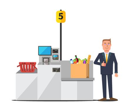 Vector feliz cliente masculino en un traje de negocios utilizando el registro de pago automático. Bolsa de papel grande llena de supermercado. Rojo cesta de la compra vacía. Máquina de autoservicio de metal gris con pago en efectivo y tarjeta Foto de archivo - 75463388