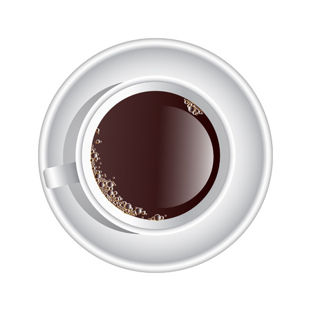 joey: Vector cup of coffee top view. Brown liquid with small amount of foam in the sides in a white porcelain cup and plate. Illustration