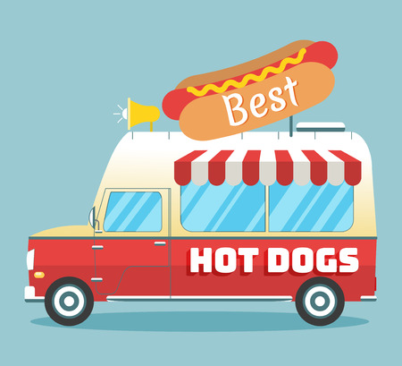 Vector illustration of a fast food truck in flat style.. Mobile retro vehicle with hot dog decoration and sign. Side view, isolated. Concept of fast street food.