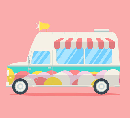 chimes: Vector Ice cream van. Side view of a commercial truck decorated by ice cream balls, stripy roof and music chimes. Modern flat style illustration Illustration