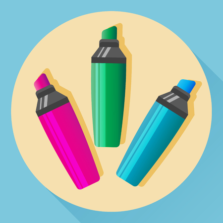 permanent: Vector multicolored highlighters icon. Isolated objects. Flat style