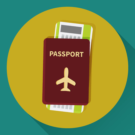 foreign national: Passport and boarding pass ticket icon. Flat design. Vector illustration
