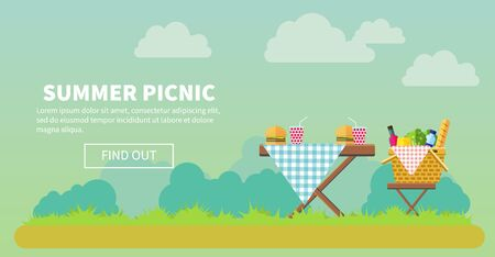 patio set: Outdoor picnic in park vector flat style illustration. Table covered with tartan cloth with chairs. Hamburgers and drinks on the table. Picnic basket filled with food on the chair. Copyspace Stock Photo