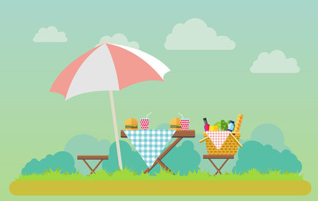 Outdoor picnic in park vector flat style illustration. Table covered with tartan cloth with chairs and umbrella. Hamburgers and soda on the table. Picnic basket filled with food on the chair. Stock Photo