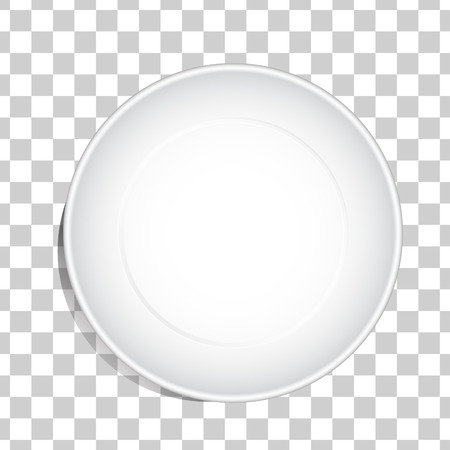 Empty white dish plate background. Vector round dinner plate. Illustration on transparent background. Top view