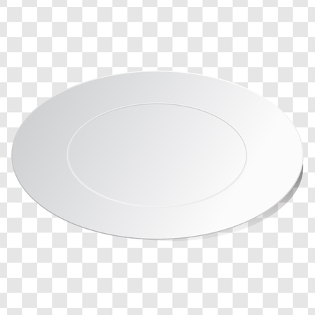 Empty white dish plate background. Vector round dinner plate. Illustration on transparent background. Isometric projection