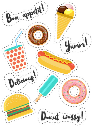 Fast street food vector stickers. Burger, hot dog, donut , ice cream, drink. Phrases about food. Modern flat style illustration. Illustration