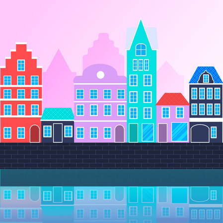 Vector urban landscape. Modern flat cartoon style, neon colors. Buildings of different height standing at embankment