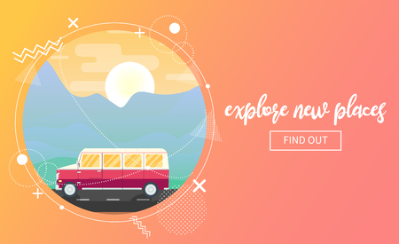 Vector travel banner showing a van riding through mountain landscape at sunset. Memphis decor elements. Copyspace on the right