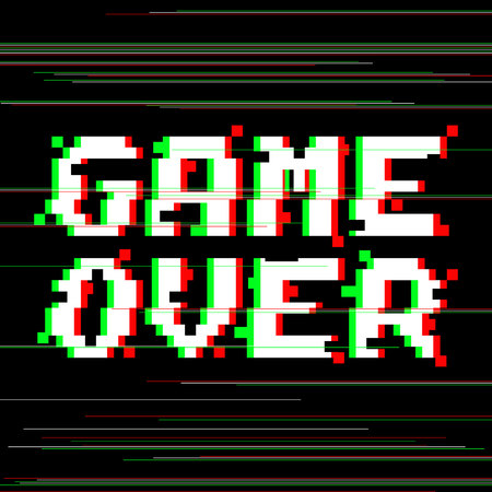 Vector game over phrase in pixel art style with glitch VHS effect. Three color half-shifted letters. Ocassional pixels and colored glitch lines around
