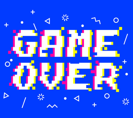 Vector game over phrase in pixel art 8 bit style with glitch VHS effect. Three color half-shifted letters. Ocassional pixels and memphis style pattern elements around Иллюстрация