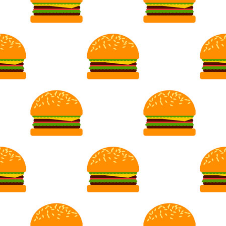 Vector flat cartoon style seamless burger pattern. White background Illustration