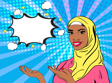 Beautiful lady in hijab. Vector pop art comic style illustration. Smiling woman holding hands in the posture for presenting or advertising. Empty speech bubble. Halftone background