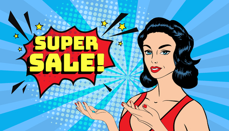 Vector pop art smiling sexy woman pointing hands to copy space with a phrase Super sale. Posture for advertising or presenting. Halftone background