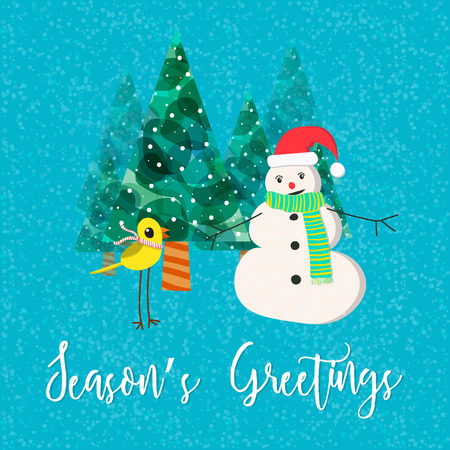 Vector Christmas greeting card with a phrase Seasons Greetings.