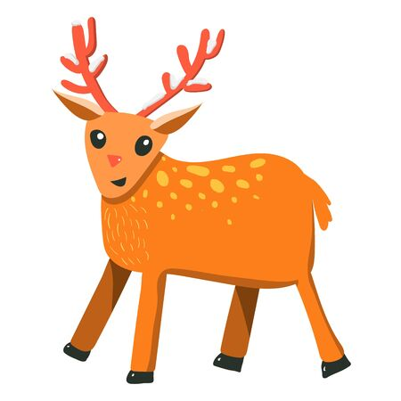 Vector flat cartoon style raindeer with snow on antlers. Christmas symbol. Isolated on white background Stock Photo