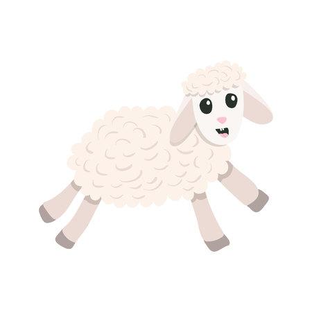 Flat cartoon style cute sheep jumping forward. Christmas symbol. Isolated on white background