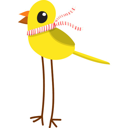 Flat cartoon style yellow bird in a stripey scarf and long legs. Isolated on white background