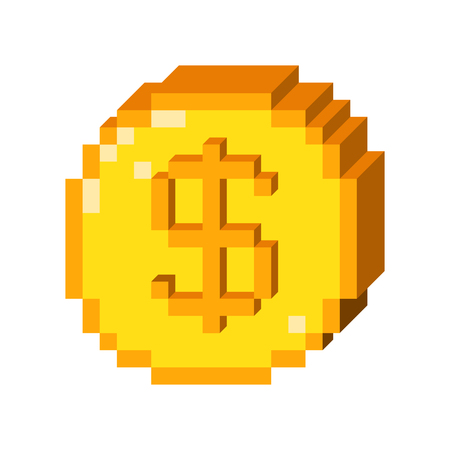 Pixel art 3D dollar icon. Color concept of dollar currency.