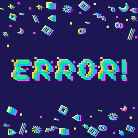 Vector error phrase in pixel style with glitch effect. Three color half-shifted letters. Ocassional pixels and geometric style decor elements. Gaming concept