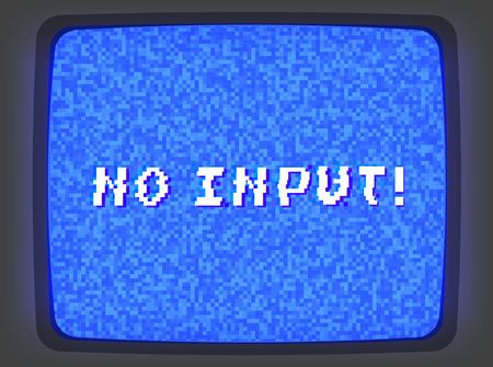 ノイズちらつきと入力フレーズのないビデオテーププレーヤーのベクトルブルーのイントロスクリーン。レトロなスタイルヴィンテージブルーピク  イラスト・ベクター素材