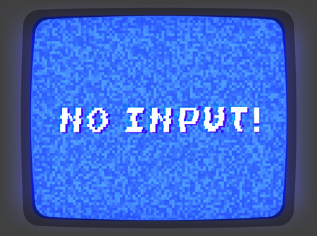 Vector blue intro screen of a videotape player with noise flickering and no input phrase. Retro style vintage blue pixel art background.