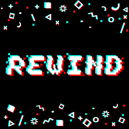 Vector rewind phrase in pixel art 8 bit style with glitch effect. Three color half-shifted letters. Ocassional pixels and geometric style decor elements. Gaming concept