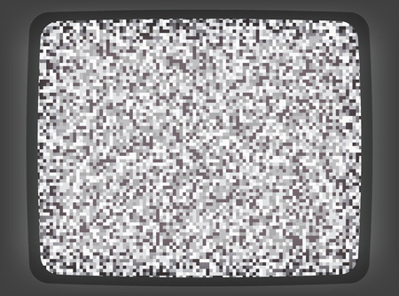 Vector grey intro screen of a tv with noise flickering. Retro style vintage pixel art background.