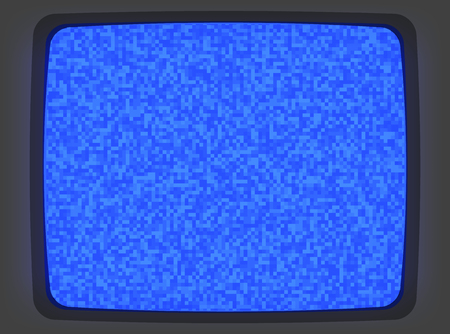 Vector blue intro screen of a videotape player with noise flickering. Retro 80 s style vintage blue pixel art background.
