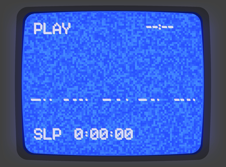 Vector VHS blue intro screen of a videotape player with noise flickering. Retro 80 s style vintage blue pixel art background.
