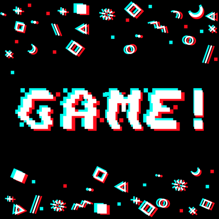 Vector game phrase in pixel art 8 bit style with glitch VHS effect. Three color half-shifted letters. Ocassional pixels and goemetric style decor elements. Gaming concept Illustration