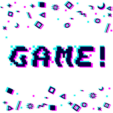 Vector game phrase in pixel art 8 bit style with glitch VHS effect. Three color half-shifted letters. Ocassional pixels and goemetric style decor elements. Gaming concept Иллюстрация