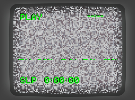 Vector VHS gray intro screen of a videotape player with noise flickering. Retro 80 s style vintage green pixel art background.