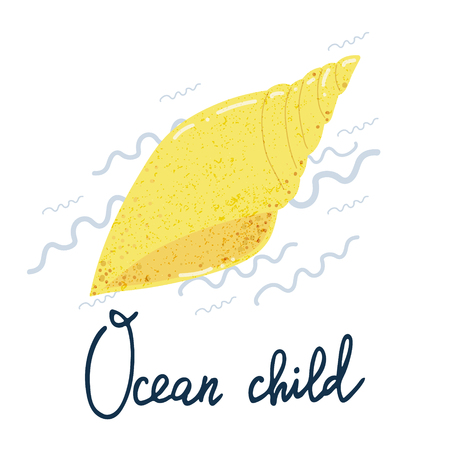 Vector cartoon cute sea shell and hand written lettering phrase Ocean child. Simple and adorable design for posters, sites, t-shirts, nursery and kids prints Illustration