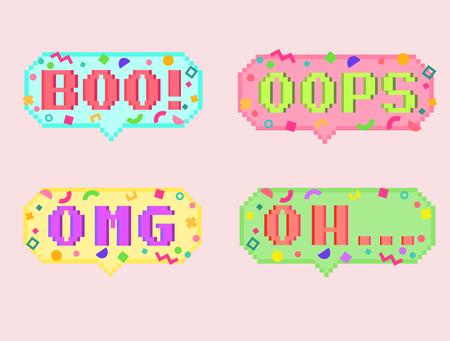 Vector pixel art 8bit set of four stikers. Pixel dialog cloud and font with modern geometric decor. Creative conversation chat and messenger sticker. Vettoriali