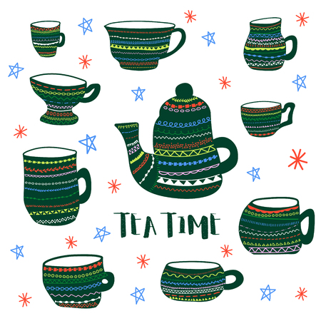 Vector colored poster of decorated tea cups and kettle and stylized tea time phrase. Hand made illustration for advertisement, web, cafe, prints, cards and invitations.