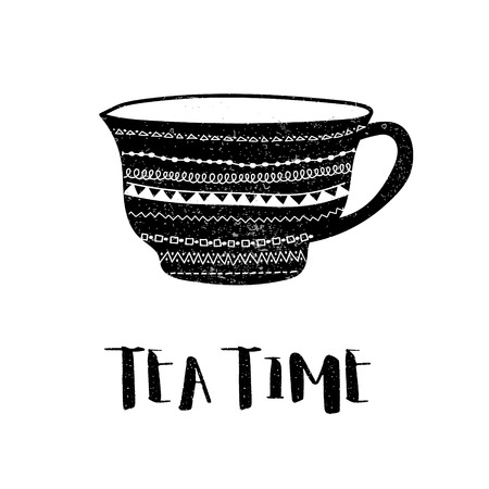 Vector black and white poster of decorated tea cup and stylized tea time phrase. Hand made illustration for advertisement, web, cafe, prints or menus. Illustration