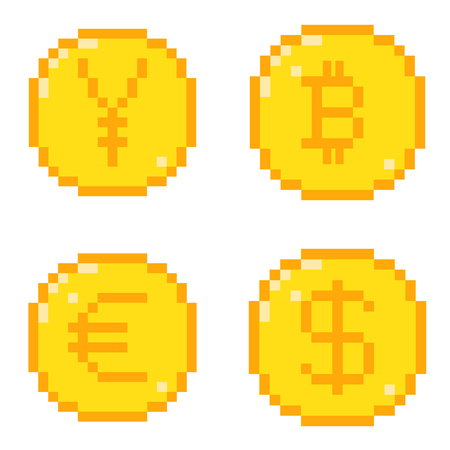 Set of four 8 bit pixel art coin icons. Color flat style concept of currency. Dollar, bitcoin, yen, euro.
