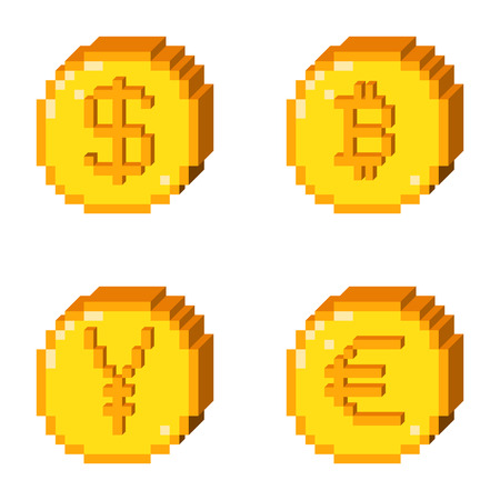 Set of four 8 bit pixel art coin icons. Color 3D concept of currency. Dollar, bitcoin, yen, euro. Illustration