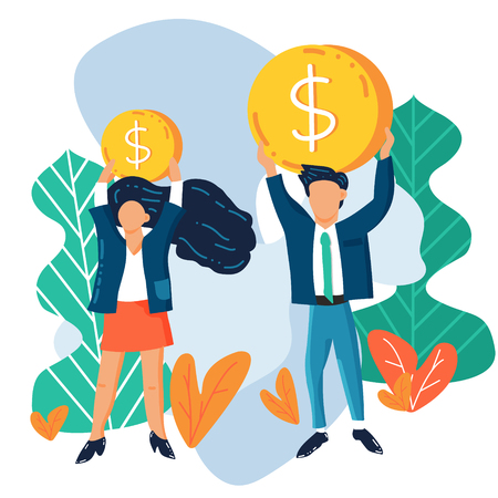 illustration of a man and a woman holding dollar coins above their heads. Concept illustration of gender pay gap. Men earn more money than women. Abstract background